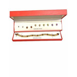 NEW Multi Colored Gemstone 18ct Gold Bracelet AND Earrings